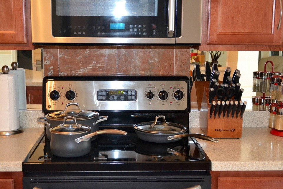 kitchen stove and microwave oven