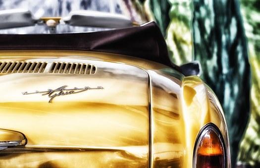 yellow vintage car