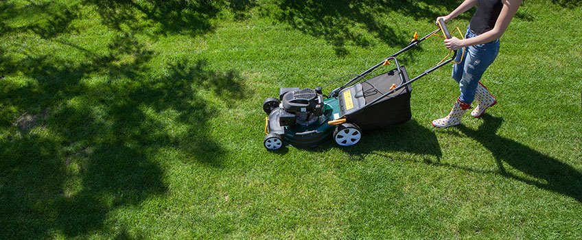 doing mower job